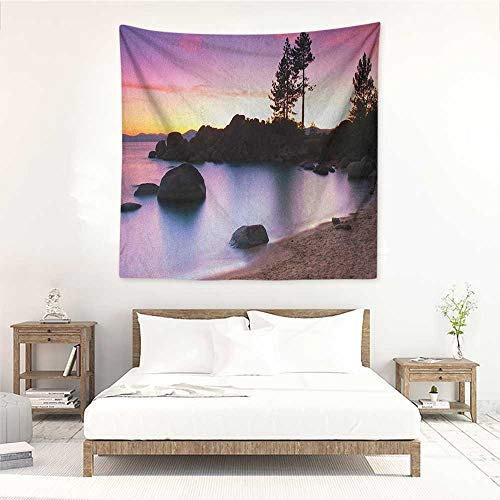Willsd Landscape Square Tapestry Hippie Golden Sandy Beach by The River with Fairy Sky Relax Simple Life Art Photo Tapestry for Home Decor 55W x 55L INCH Purple Cream
