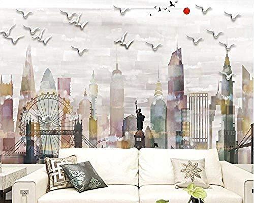 FSLUCKY Abstract City Liberty Modern 3D Wallpaper Living Room TV Wall Kitchen Kids Bedroom Restaurant Bar Cafe 3D Wall-A