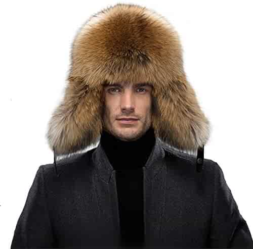 5999ab7eb81 Men s Fur Hat - Winter Real Raccoon Fur Cap Fox Fur Genuine Leather Russia  Aviator Hats