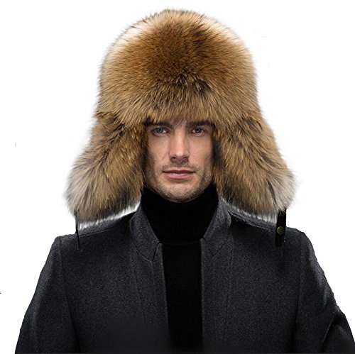 Fur Trapper (Queenfur Real Fox Fur Hat Men Raccoon Fur Genuine Leather Cap)