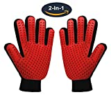 #4: Pet Grooming Glove,Gentle Deshedding Brush Glove Hair Remover Brush for Dogs,Cats & Horses with Long & Short Fur,Enhanced Five Finger Design -One Pair Left & Right[Red]