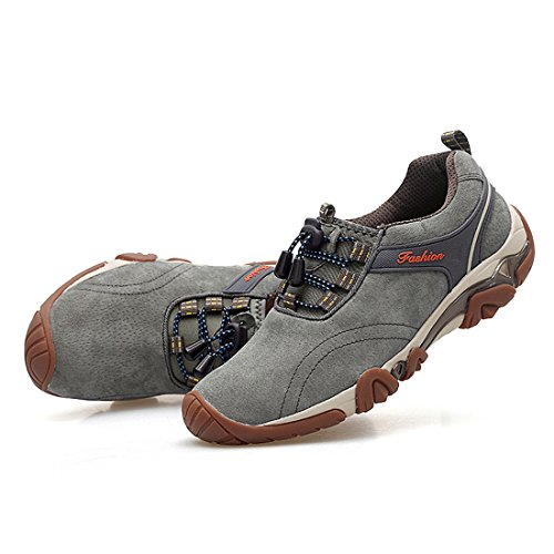 Xiafen Moda Para Hombre Con Cordones Cómodo Respirable Casual Al Aire Libre Zapatillas De Deporte De Montaña Zapatos Gris