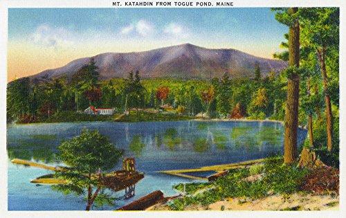 Katahdin Cabin - Maine - Togue Pond View of Mount Katahdin (16x24 Giclee Gallery Print, Wall Decor Travel Poster)