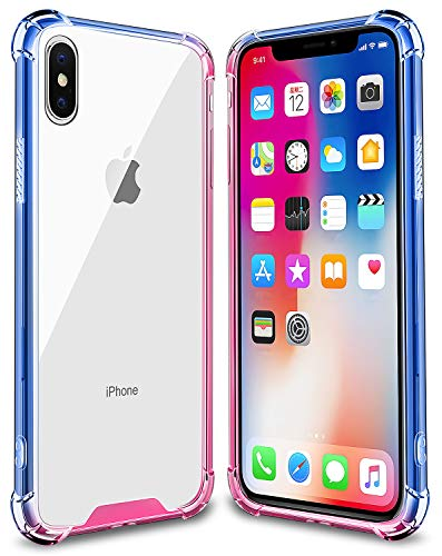 (Salawat for iPhone Xs Max Case, Clear iPhone Xs Max Case Luxury Cute Gradient Slim Phone Case Cover Reinforced TPU Bumper Hard PC Back Shockproof Protective Case for iPhone Xs Max 6.5 Inch (Blue Pink))