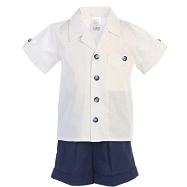 3f32b4bf8f2 Lito Baby Boys Navy White Poly Cotton Shirt Rayon Linen Shorts Set 3-24M -