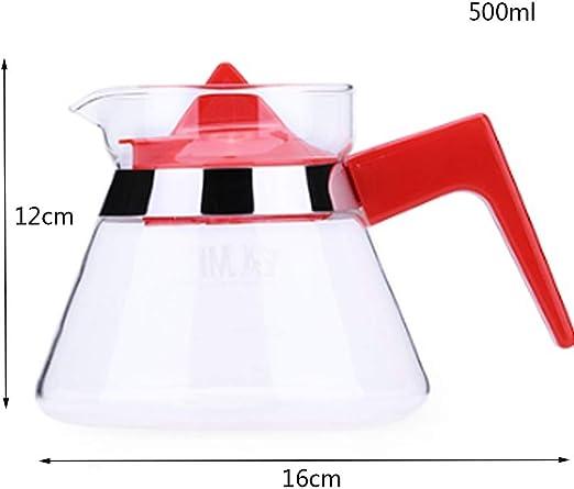 Xiaozou Cafetera Filtro Papel Goteo Cono litro Vidrio Negro Rojo cafetera (Color : Red): Amazon.es: Hogar