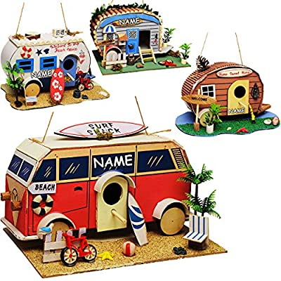 alles-meine.de GmbH Vogelhaus - Wohnwagen - Wohnmobil - Caravan - aus Holz - 28 cm - Nistkasten Vogelhäuschen…