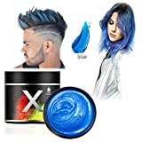 Blue Hair Color Wax,One-time Temporary Modeling Natural Color Hair Dye Wax,Temporary Hairstyle Cream,Styling Wax for Party, Cosplay, Party, Masquerade,Nightclub,Halloween (Blue)