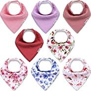 KiddyCare Baby Bibs for Girls 8 Pack - Waterproof 100% Organic Cotton for Drooling and Teething - Soft & Absorbent Bandana B