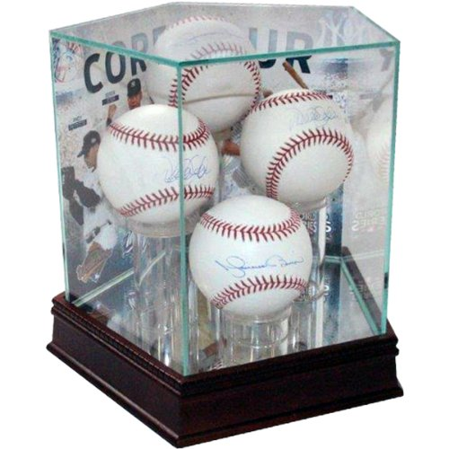 MLB New York Yankees Core Four Background Glass Quad Baseball Case (Case Four Display Baseball)