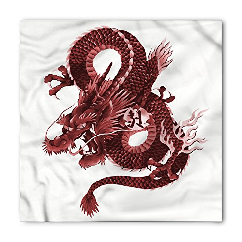 Ambesonne Dragon Bandana, Japanese Dragon Figure Tatsu Symbol Sacred Folk Noble Monster Theme, Printed Unisex Bandana Head and Neck Tie Scarf Headband, 22 X 22 Inches, Burgundy and Pale Pink