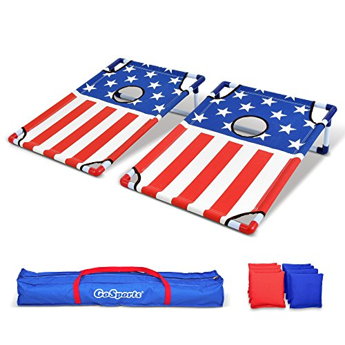 GoSports Portable PVC Framed Cornhole Game Set with 8 Bean Bags and Travel Carrying Case - Choose American Flag Design or Classic Red & Blue (Classic Game Set)