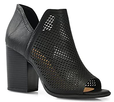 LUSTHAVE Women's Crystal Open Peep Toe Chunky Stacked Block Heel Side Zipper Closure Sandals Cut Out Heeled Bootie by Perforated Black 5.5