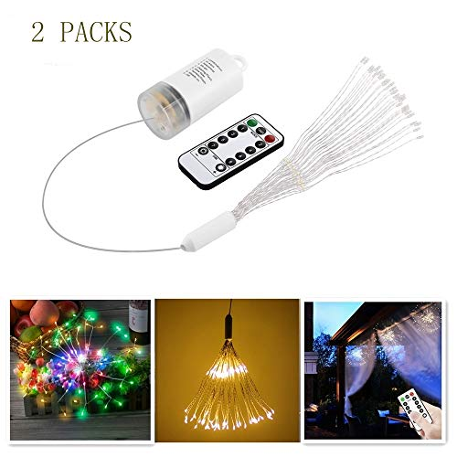 Fanshu 2 Packs Led Fairy Lights, Dimmable Hanging Remote Control String Lights with Timer, Battery Operated Waterproof 150 Led Multi Color Firework for Bedroom, Home Decor, Party, Christmas, Garden ()
