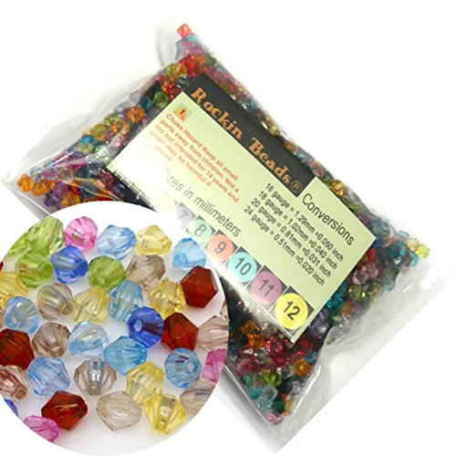 Rockin Beads Brand, 2000 Mixed Acrylic Trasparent Plastic Bi-cone Spacer Beads 6mm Craft (Acrylic 6 Mm Bicone)