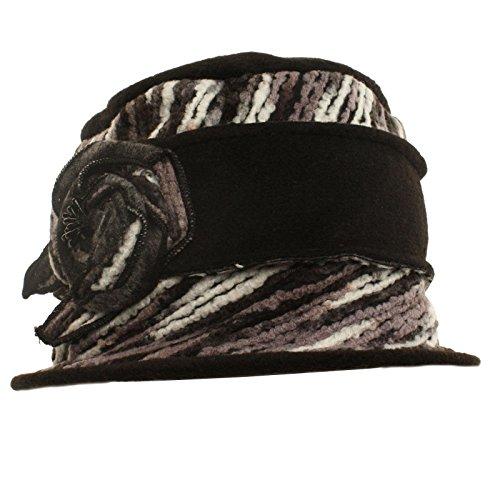 Winter 1920s Velvety Thick Fleece Knit Floral Cloche Bucket Bell Hat Cap Black (Bell Bucket Hat)