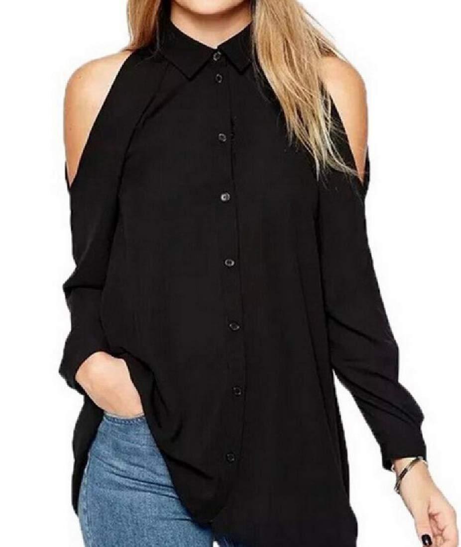 jj-Daidai Women's Chiffon Shoulder Bag Long-Sleeved Shirt Shirt Black XL
