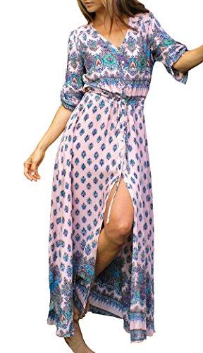 R.Vivimos Women Summer Button Up Floral Print Split Beach Maxi Dresses Large Pink -