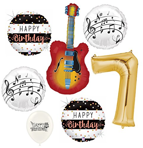 (Electric Guitar Balloons Musical Instrument 7th Birthday Party Decorations Supplies Bundle)