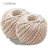 KINGLAKE® 2 Rolls Natural Cotton Cooking Twine [300 Feet Per Roll] Food Safe Kitchen Twine Perfect for Trussing and Tying Poultry and Meat Making Sausage,Good for Arts Crafts and Garden
