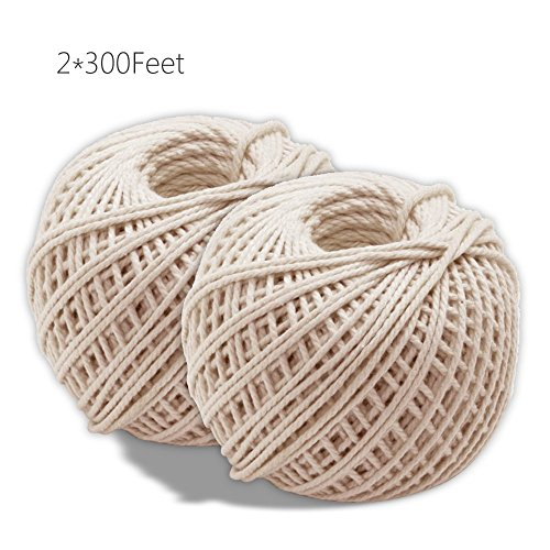 KINGLAKE 2 Rolls Natural Cotton Cooking Twine [300 Feet Per Roll] Food Safe Kitchen Twine Perfect for Trussing and Tying Poultry and Meat Making Sausage,Good for Arts Crafts and Garden