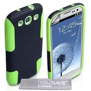 Fundas Samsung Galaxy S3 Carcasas Malla Combo de Doble Silicona Caso Negro/Verde Con Protector de Pantalla y Paño de Pulido