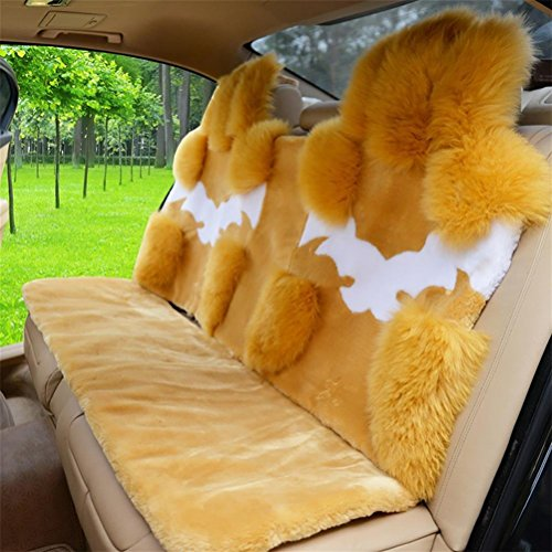 YAOHAOHAO Universal Full Set Deluxe sheep of the skin of the car seat cover wool, m yellow by YAOHAOHAO (Image #1)