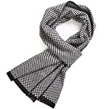 FULLRON Men's Cashmere Cotton Scarf Silky - Warm Scarves (Black, White)