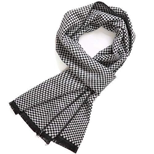 (FULLRON Men's Cashmere Cotton Scarf Silky - Warm Scarves (Black, White))