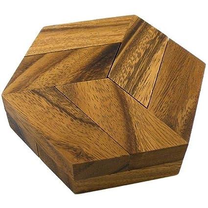 Amazon com: Hexagon Brain Teaser Wooden Puzzle: Toys & Games