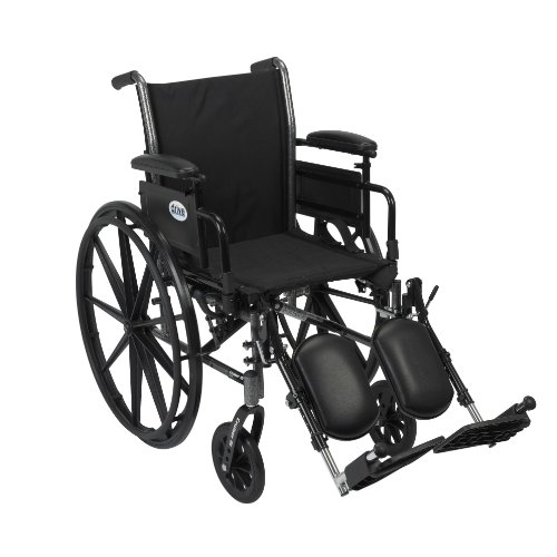 Drive Medical Cruiser III Light Weight Wheelchair with Various Flip Back Arm Styles and Front Rigging Options, Flip Back Removable Adjustable Height Desk Arms/Elevating Leg Rests, Black, 20 Inch ()