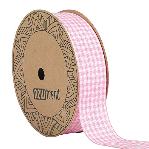 (NewTrend Gingham Ribbon 25 Yard Each Roll 100% Polyester Woven Edge (1-Inch, Pink))