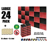 Arrowzoom New 24 Pieces of (25 X 25 X 5 cm) Soundproofing Insulation Wedge Acoustic Wall Foam Padding Studio Foam Tiles AZ1134 (Black & RED)