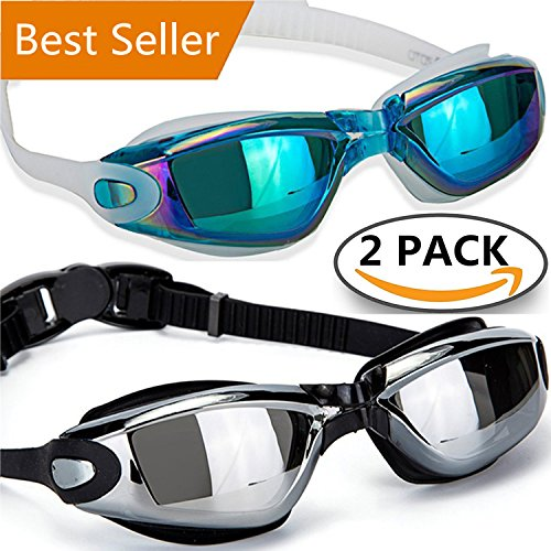 Swimming Goggles Swim Goggles, Pack of 2 - ALLPAIPAI Professional Anti Fog No Leaking UV Protection Wide View Swim Goggles For Women Men Adult Youth Kids