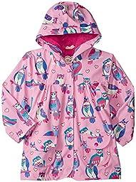 Hatley Little Girls\' Classic Printed Raincoat, Metallic Hearts, 2