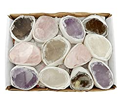 Seer Stones Ema Egg Amethyst Rose Quartz Smokey Quartz Crystal Box Set - Brazilian Crystals - Crystal Collection - Reiki Crystals Rock Paradise Exclusive Coa