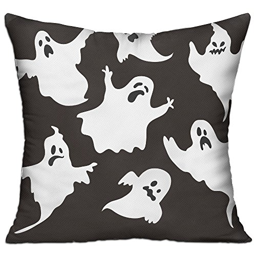 KKWODWCX Halloween Ghost Pattern Home Fashion Soft Canvas Polyster Throw Pillow Bolster Cushion Cover Square 18'' Decorative Pillowcase