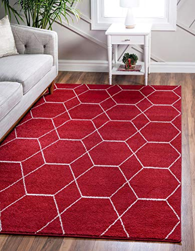 Unique Loom Trellis Frieze Collection Lattice Moroccan Geometric Modern Red Area Rug (5' 0 x 8' 0) (Area Red Rugs)