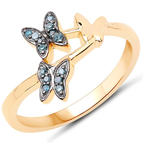 LoveHuang 0.07 Carats Genuine Blue Diamond (I-J, I2-I3) Butterfly Trio Ring Solid .925 Sterling Silver With 18KT Yellow Gold ()