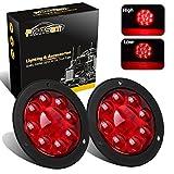 "Partsam 2PCS 4"" Red Stop Turn Tail Brake Truck Trailer Light Flange Mount 12 Diodes Utility"