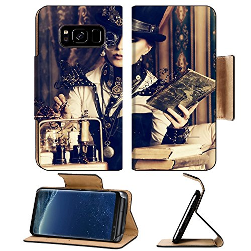 Liili Premium Samsung Galaxy S8 Plus Flip Pu Leather Wallet Case IMAGE ID: 20990373 Portrait of a beautiful steampunk woman over vintage - Steampunk Products