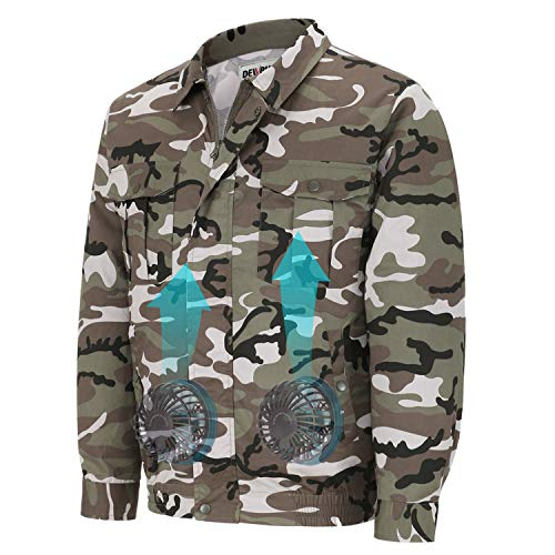 DEWBU Workwear Equipped Cooling Jacket Fan with Battery Pack for Summer Outdoors Air-Conditioned Clothes (Camouflage Suit, X-Small) ()