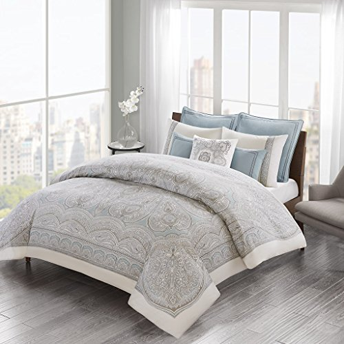 Echo Design Larissa Duvet Cover Full/Queen Size - Blue, Grey, Medallion Duvet Cover Set – 4 Piece – 100% Cotton Sateen And Percale Light Weight Bed Comforter ()