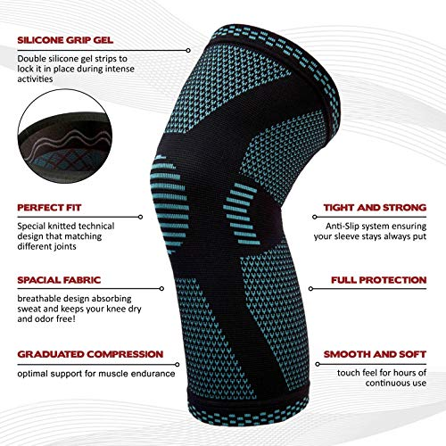 PowerLix Compression Knee Sleeve Best Knee Brace for Meniscus Tear,Arthritis,Quick Recovery etc Knee Support For Running,CrossFit,Basketball and other Sports Single Wrap Small by POWERLIX (Image #4)