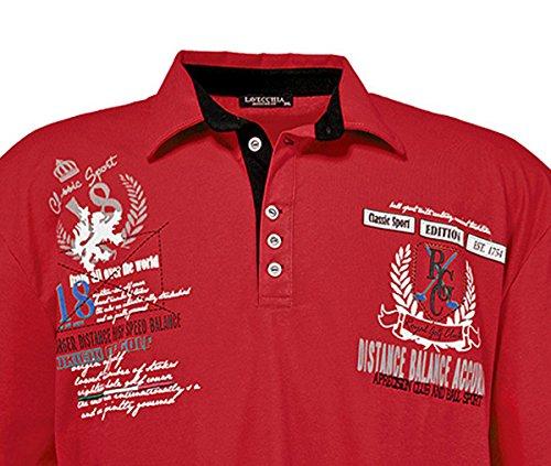Lavecchia Designer Herren Poloshirt in Übergröße Aus Reiner Baumwolle Kurzarm von Bordeaux von 3XL bis 8XL