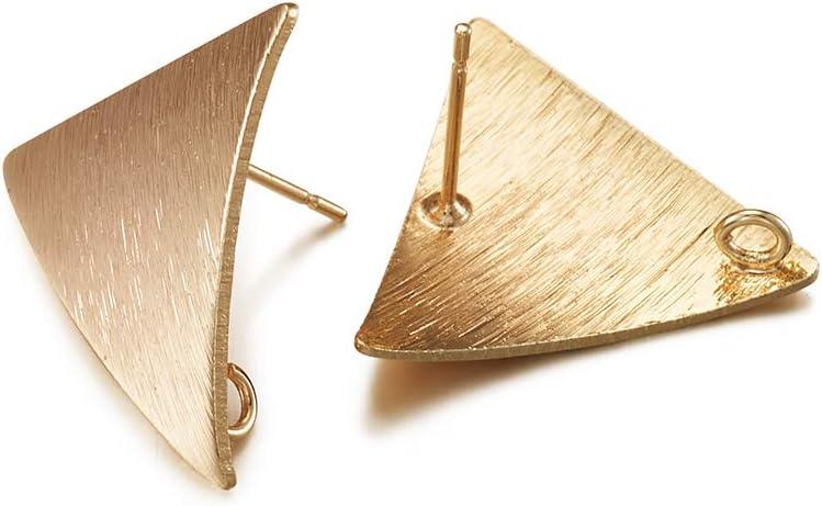 2pcs 3D triangle earring post 11x9mm Palladium EA-30R Not easily tarnished Original rhodium plated brass Nickel free plating