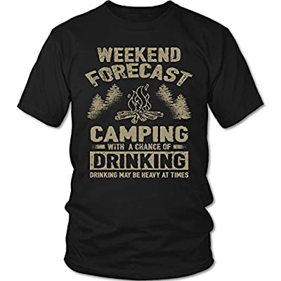 "Camp Shirt By Camperville - Funny ""Weekend Forecast Camping With A Chance Of Drinking"" T-Shirt"