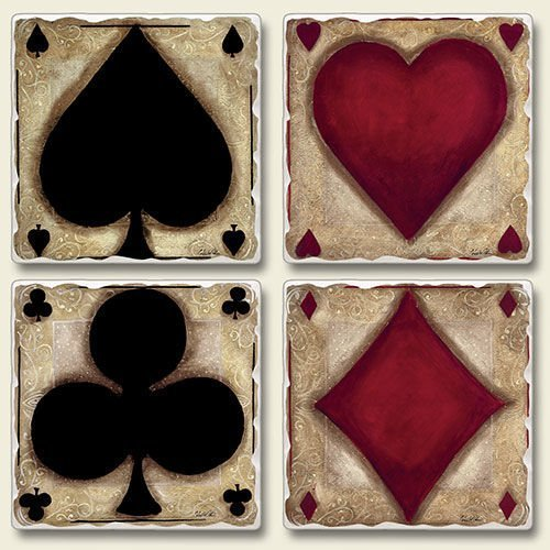 Ante Up Poker Night Diamonds Hearts Clubs Spades Absorbent Coasters Set of 4 ()