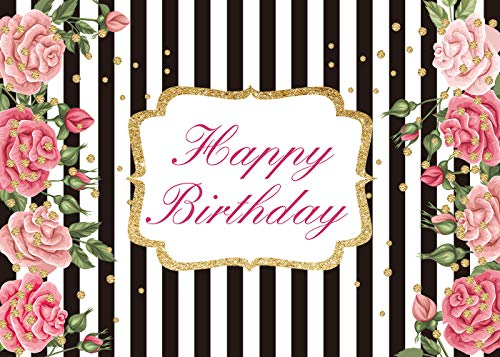 Black and White Stripe Backdrop Party Decoration Gold Dots Adult Children Photocall Photo Booth Background Pink Floral Birthday 7x5FT ()