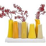 Amazon yellow vases home dcor home kitchen chive pooley 2 unique rectangle ceramic flower vase small bud vase decorative mightylinksfo
